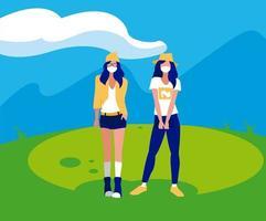 Frauenavatare mit Masken außerhalb des Vektordesigns