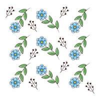Hintergrund der Blumen blau mit Zweigen und Blättern