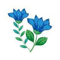 niedliche Blumen blau mit Zweigen und Blättern isolierte Ikone