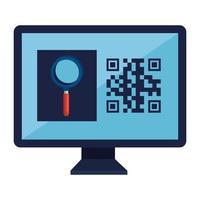 QR-Code im Computer- und Lupe-Vektor-Design