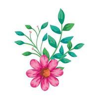 söt blomma rosa med grenar och blad isolerad ikon