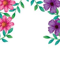 ram med blommor rosa och lila färg med blad
