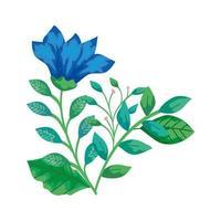 niedliche Blume blau mit Zweigen und Blättern isolierte Ikone