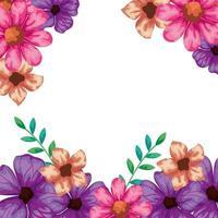 ram av blommor med grenar och blad