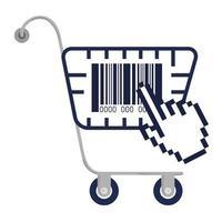 Barcode im Einkaufswagen- und Cursorhand-Vektordesign
