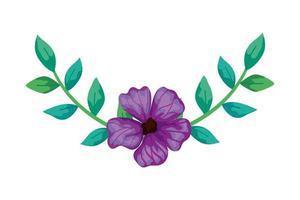 niedliche Blume lila mit Zweigen und Blättern isolierte Ikone