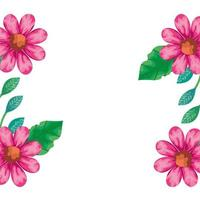 ram med blommor rosa färg med blad naturliga