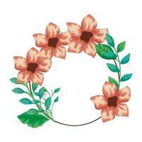 Rahmen kreisförmig von niedlichen Blumen mit Zweigen und Blättern