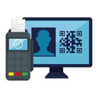 QR-Code im Computer- und Datentelefon-Vektordesign