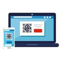 QR-Code im Laptop- und Smartphone-Vektor-Design