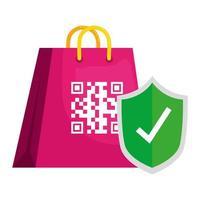 QR-Code über Tasche und Schild Vektor-Design