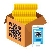 QR-Code über Box-Münzen und Smartphone-Vektor-Design