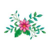 niedliche Blume rosa mit Zweigen und Blättern isolierte Ikone