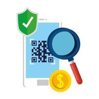 QR-Code im Smartphone-Schild und im Lupe-Vektor-Design