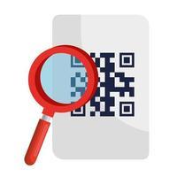 Lupe und QR-Code über Papier Vektor-Design