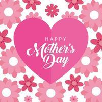 glückliche Muttertagskarte mit Herz- und Blumendekoration