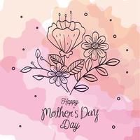 glückliche Muttertagskarte mit Blumendekoration