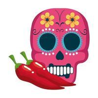 isolerad mexikansk skalle med chili-vektordesign vektor