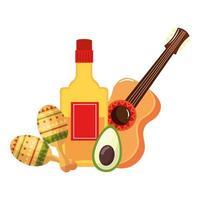 isolerad mexikansk gitarr tequila flaska avokado och maracas vektor design