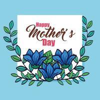 glückliche Muttertagskarte mit Blumen- und Blattdekoration