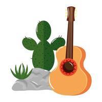 isolerad mexikansk kaktus och gitarrvektordesign vektor