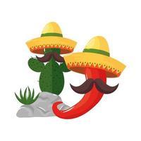 isolerad mexikansk kaktus och chili med mustasch och hattvektordesign vektor