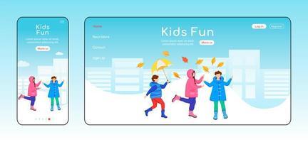 Kinder Spaß Landing Page flache Farbe Vektor-Vorlage vektor