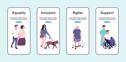 Gleichstellung und Unterstützung von behinderten Menschen Onboarding Mobile App Bildschirm flache Vektor-Vorlage vektor