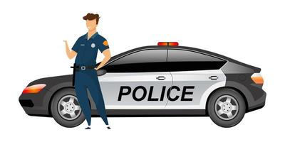 Polizist, der durch den gesichtslosen Charakter des flachen Farbvektors des Streifenwagens steht vektor