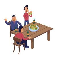 männliche Freunde an der Kneipenwohnungskarikaturvektorillustration vektor