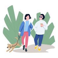 vänner går med husdjur platt färg vektor ansiktslösa karaktärer