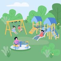 barn spelar zon platt färg vektorillustration vektor