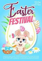 påsk festival affisch platt vektor mall