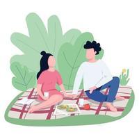 romantiskt datum utomhus platt färg vektor ansiktslösa karaktärer