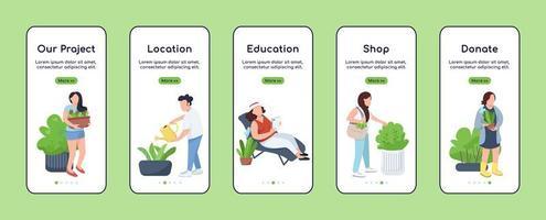 Stadt Gartenprojekt Onboarding Mobile App Bildschirm flache Vektor-Vorlage