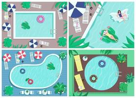 ovanifrån pool platt färg vektor illustrationer set