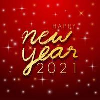 Frohes neues Jahr 2021 goldene Farbe auf rotem Grund. Illustrator Vektor.