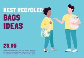 använder återvinningsbara väskor för shopping banner platt vektor mall