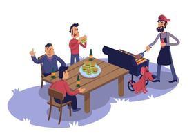 männliche Freunde bei der flachen Karikaturvektorillustration des Grillens vektor