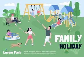 Familienurlaub in Park Banner flache Vektor-Vorlage