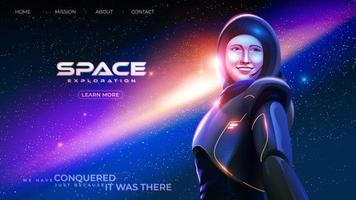 Die Astronautin in einem Raumanzug lächelt glücklich vor dem Hintergrund des riesigen Universums vektor