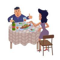 Paar, das hausgemachtes Essen flache Karikaturvektorillustration isst vektor