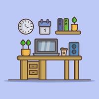 kontorsskrivbord konturteckningar vektor