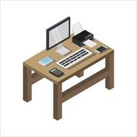 kontorsskrivbord isometrisk illustrerad på vit bakgrund vektor