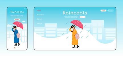 regnrockar målsida platt färg vektor mall