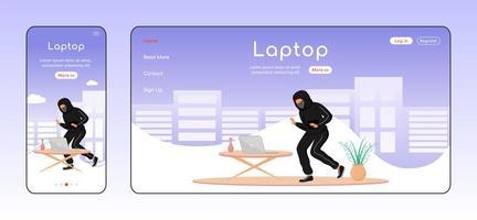 laptop stöld adaptiv målsida platt färg vektor mall