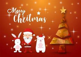 Frohe Weihnachten und ein frohes neues Jahr Phantasie Gold Weihnachtsbaum. Weihnachtsmann, Kaninchen und Bär in Weihnachten. Illustrator Vektor.