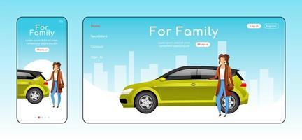 för familjens responsiva målsida platt vektormall vektor