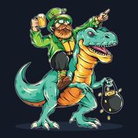 St.Patricks Tag bärtiger Mann auf einem Dinosaurier vektor