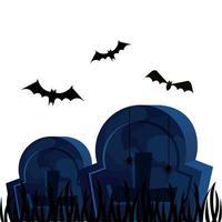 Halloween-Gräber mit fliegenden Fledermäusen vektor